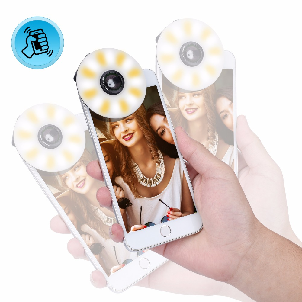 3 in1 Rechargeable Selfie Ring Light Camera Lens Kit,Shake light Warm White LED Bright Wide Angle Macro Len for Smart Cell Phone