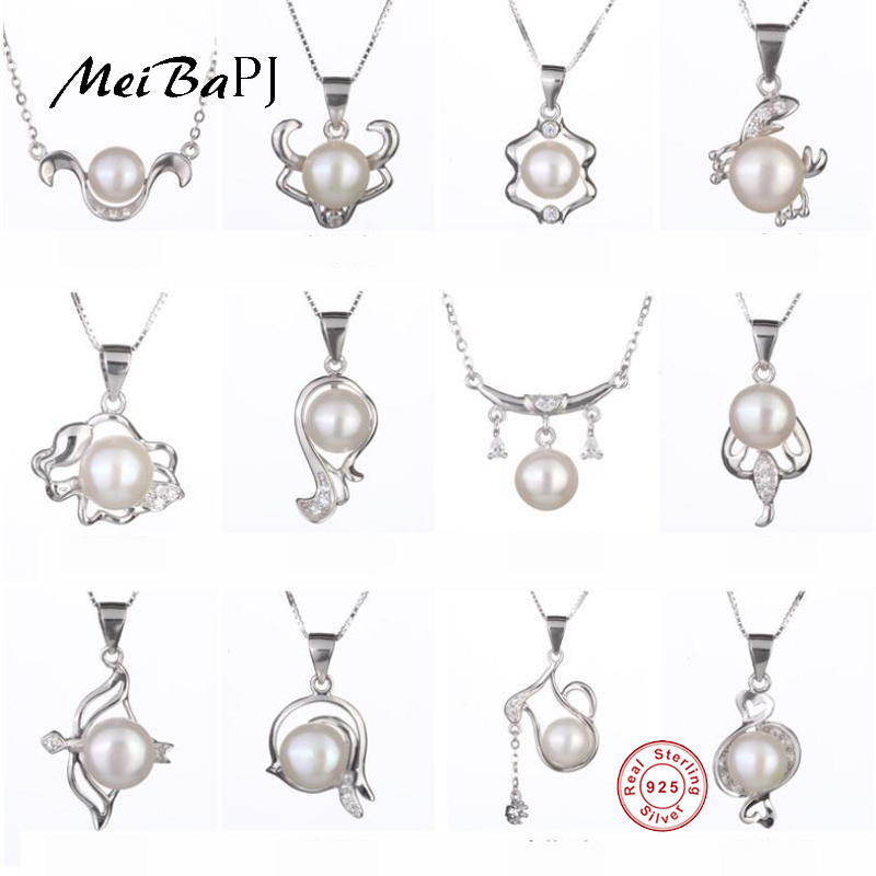 [MeiBaPJ] Fashion Real Natural Pearl Pendant Necklace 925 Sterling Silver 12 Constellations Pendant Party Jewelry for Women