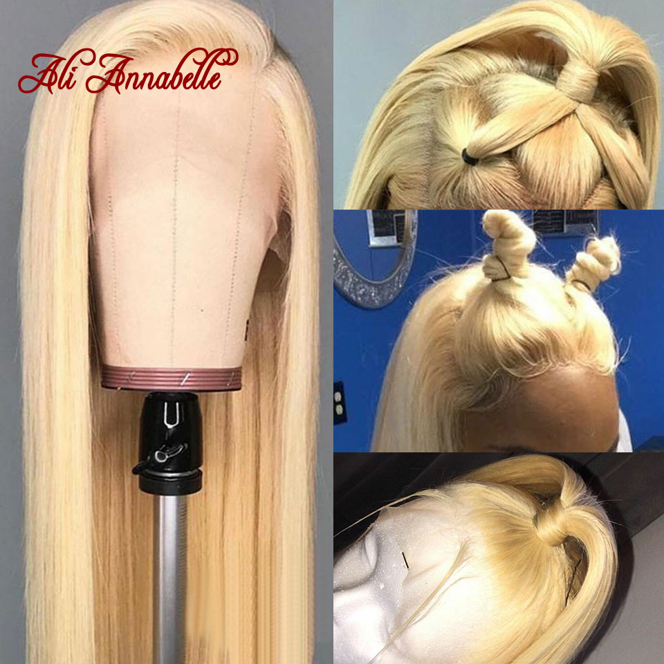 13*6 Blonde Lace Front Wigs Malaysian Straight Human Hair Wigs Pre Plucked Natural Hairline Glueless 613 Lace Front Wig