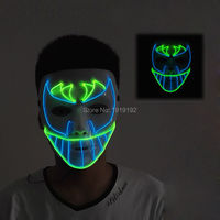 New design Trendy EL Wire Mask,Night bat face Mask LED Neon Light Glowing Party Halloween Supplies