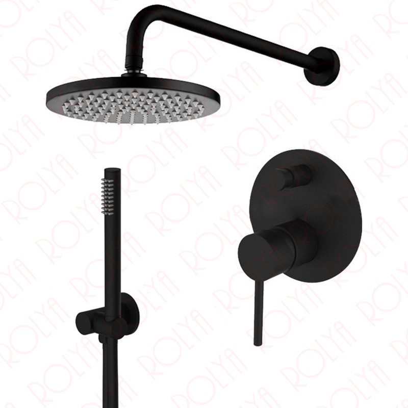 Rolya Round Alba Black Bathroom Shower Set Mixer Faucet with Hand Shower Set Premium Solid Brass 2018 New Wholesale--Blanoir