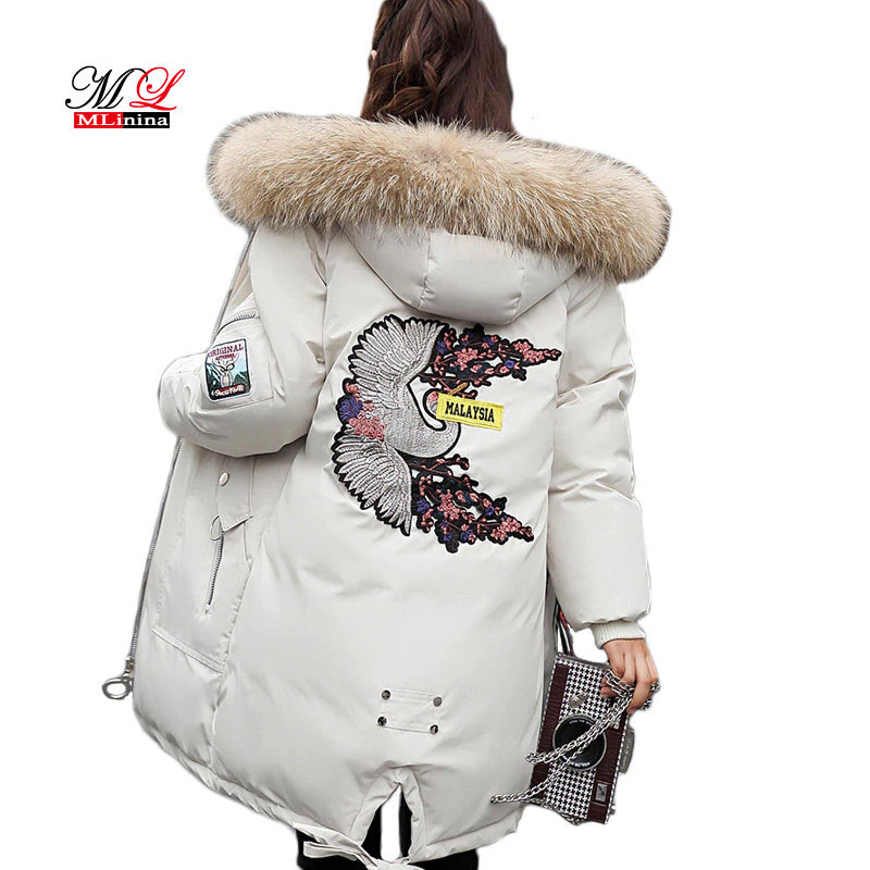 MLinina 2018 Long Jacket Women Winter Down Jacket Hooded   Parka   Warm big Fur Thicken Women Cotton Coats Female Snow OutWear Park