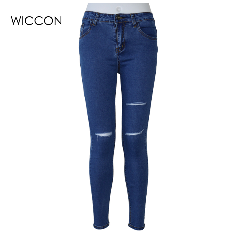 Slim Stretch ripped jeans for women Elasticity skin high waist jeans Women Pencil Denim Pants Jeans blue black hole jeans WICCON 2017 jeans for women new elasticity denim pencil pants elastic waist small jeans plus size xl 5xl fashion spliced blue jeans