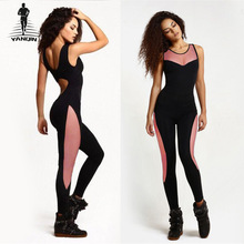 YANQIN Women's Yoga Set Fitness Gym Tracksuit Pants Sportswear Leggings Elastic Mesh One Piece Sports Suit Jumpsuits Yoga Suits