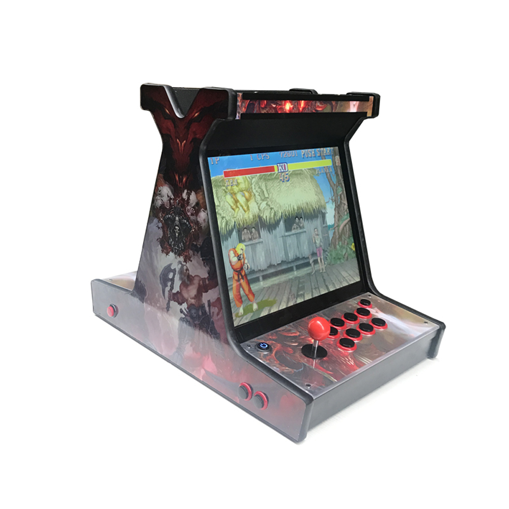 19 Inch LCD Desk Arcade Game/Mini verticle table cabinet with 2100 in 1 game bord & SANWA joystick button& 1, 2 player