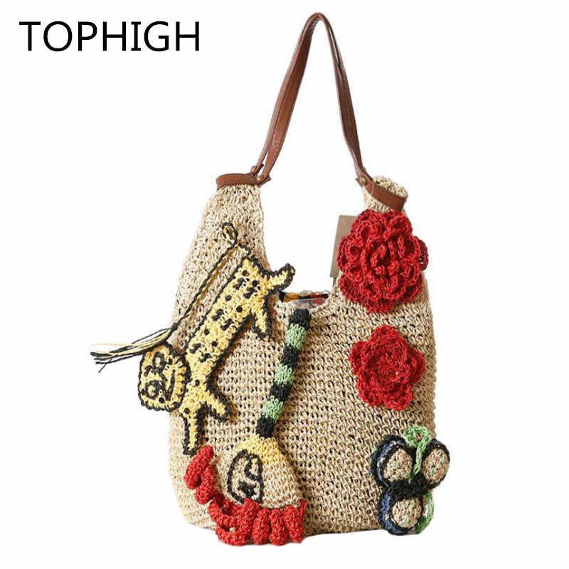 2018 модная Плетеная соломенная сумка летнее платье с цветочным принтом в богемном стиле, женские сумки в руку, украшены разноцветными цветами; сумки на плечо пляжная сумка, большая сумка тоут C37