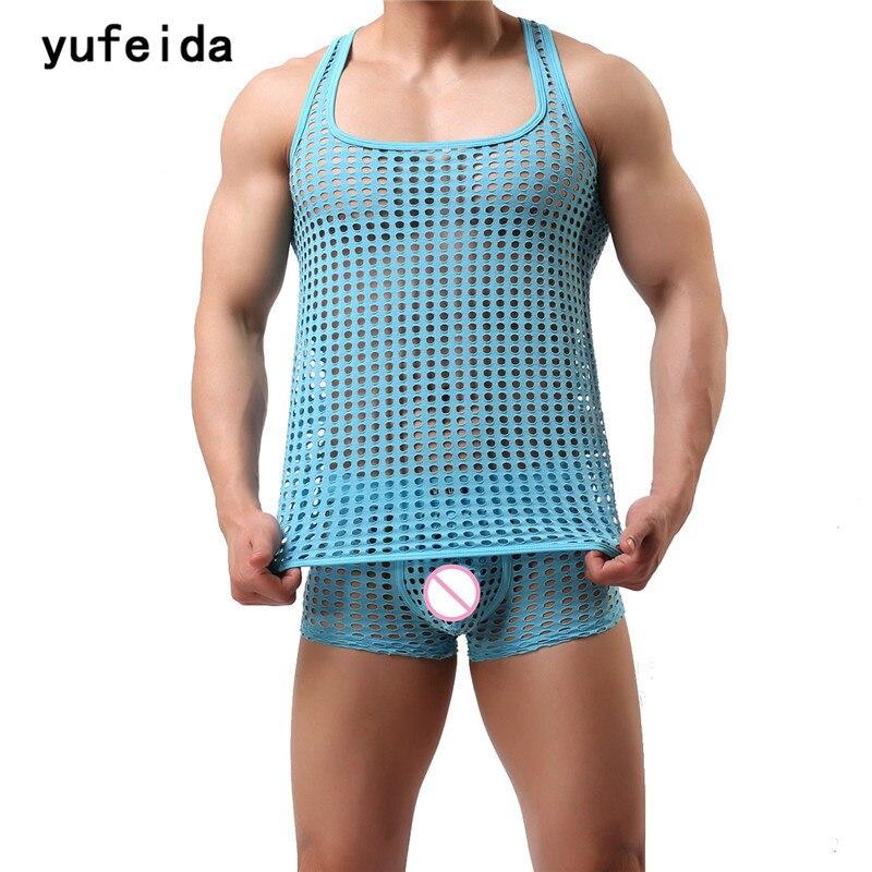 KöStlich Yufeida Männer Unterwäsche Engen Weste Tanktops Unterhemd Sleeveless Aushöhlen Atmungsaktive Hemd Elastischen Muskel T-shirt