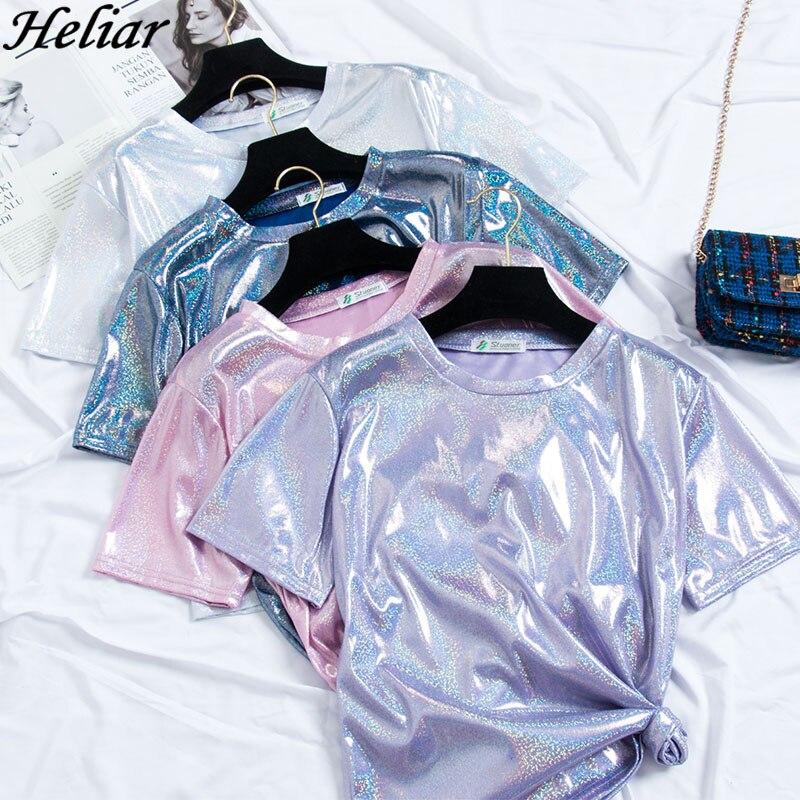 HELIAR 2019 Summer Women T-shirt 'O Neck Satin Light Glossy Cloth Lady's Sexy Night Club T-shirt Pleat Waist Short Sleeve Tshirt