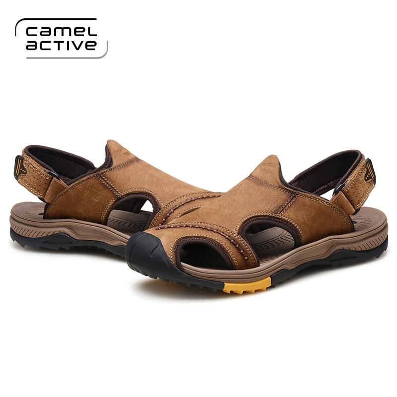 Praia Respirável Homens Camel De Genuíno Andando Casual Luz Couro Para Macio cáqui 3369 Macho Marrom Active Verão Qualidade Sapatos Sandálias pFp0Owx