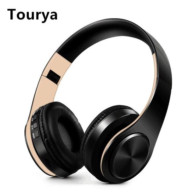 Tourya B7 Fones de Ouvido Sem Fio Bluetooth fone de Ouvido fone de Ouvido Dobrável Ajustável Fones De Ouvido Com Microfone Para PC telefone móvel Mp3