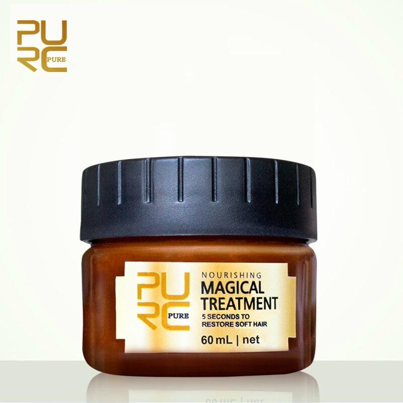 PURC Magical treatment mask 5 seconds Repairs damage restore soft hair 60ml for all hair types keratin Hair & Scalp Treatment bioaqua exfoliante para pies