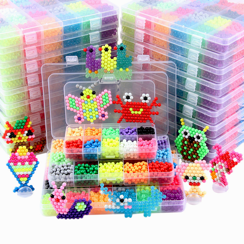 24 Colors 6000pcs Magic DIY Beads Crystal Aqua Water Spray Magic Hand Making 3D Puzzle Beads Kids Educational Toys For Children