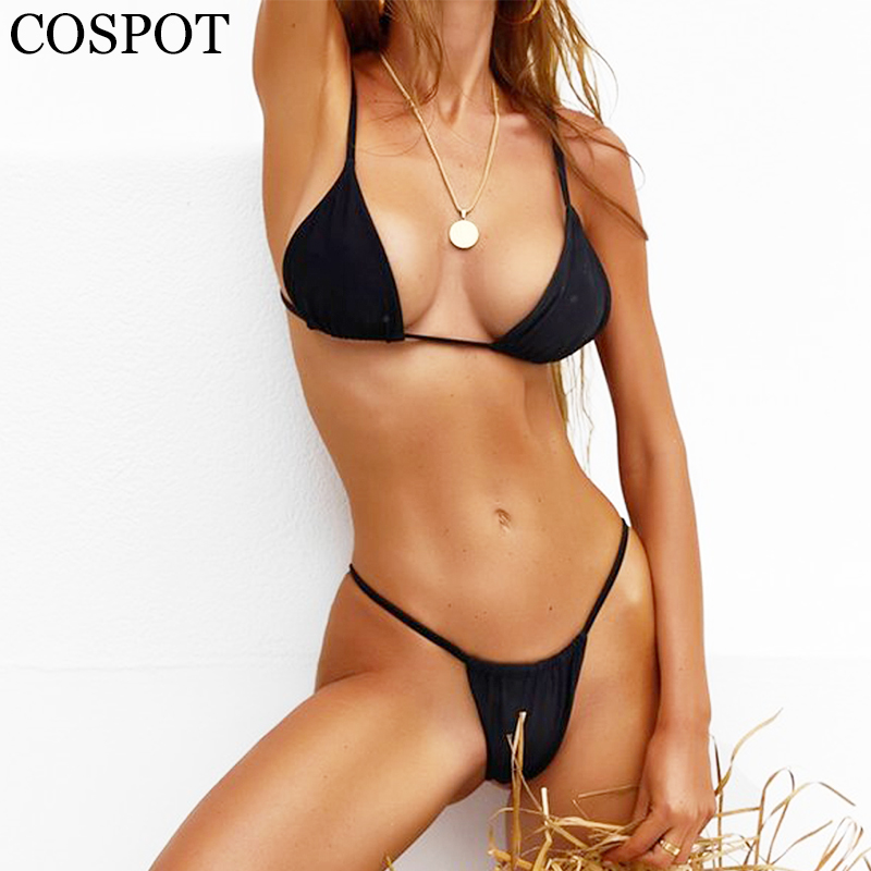 COSPOT Solid Bikinis Set 2018 Two Pieces Swimsuit Female Micro Sexy Swimwear Women Bathing Suit Brazilian Biquini Beachwear