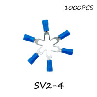 SV2 4 1000PCS Pack Blue Insulated Spade Terminal Block Connector Electrical Furcate Pre Insulated End Fork