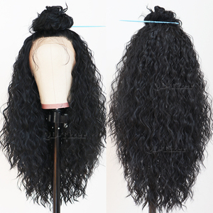 Image 4 - Black Hair Loose Curly Lace Wigs Long Natural Baby Hair 180 Density Glueless Heat Resistant Synthetic Lace Front Wigs for Women
