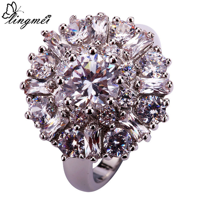 lingmei Wholesale Charming Flower Round Cut Clear White CZ AAA Silver Ring Size 7 8 9 10 11 12 Alluring Jewelry Gift