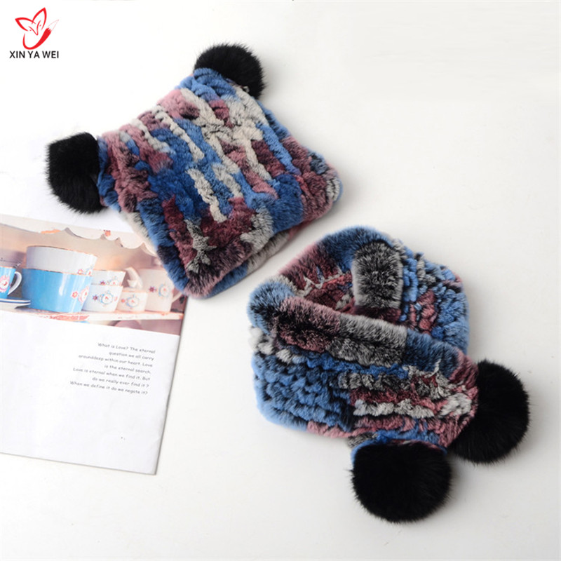 Real Rabbit Fur Cap Pompom Bobble Hat For Kids Winter Keep Warm Boys And Girls Caps Fur Two-piece Fur Scarf Hats New Listing