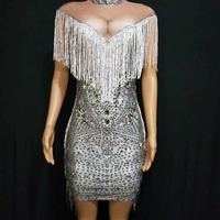 Women Birthday Celebrate Fringes Dresses Silver Rhinestones Stretch Dress Singer DJ Stage Evening Clothing Stage Outfit DT952