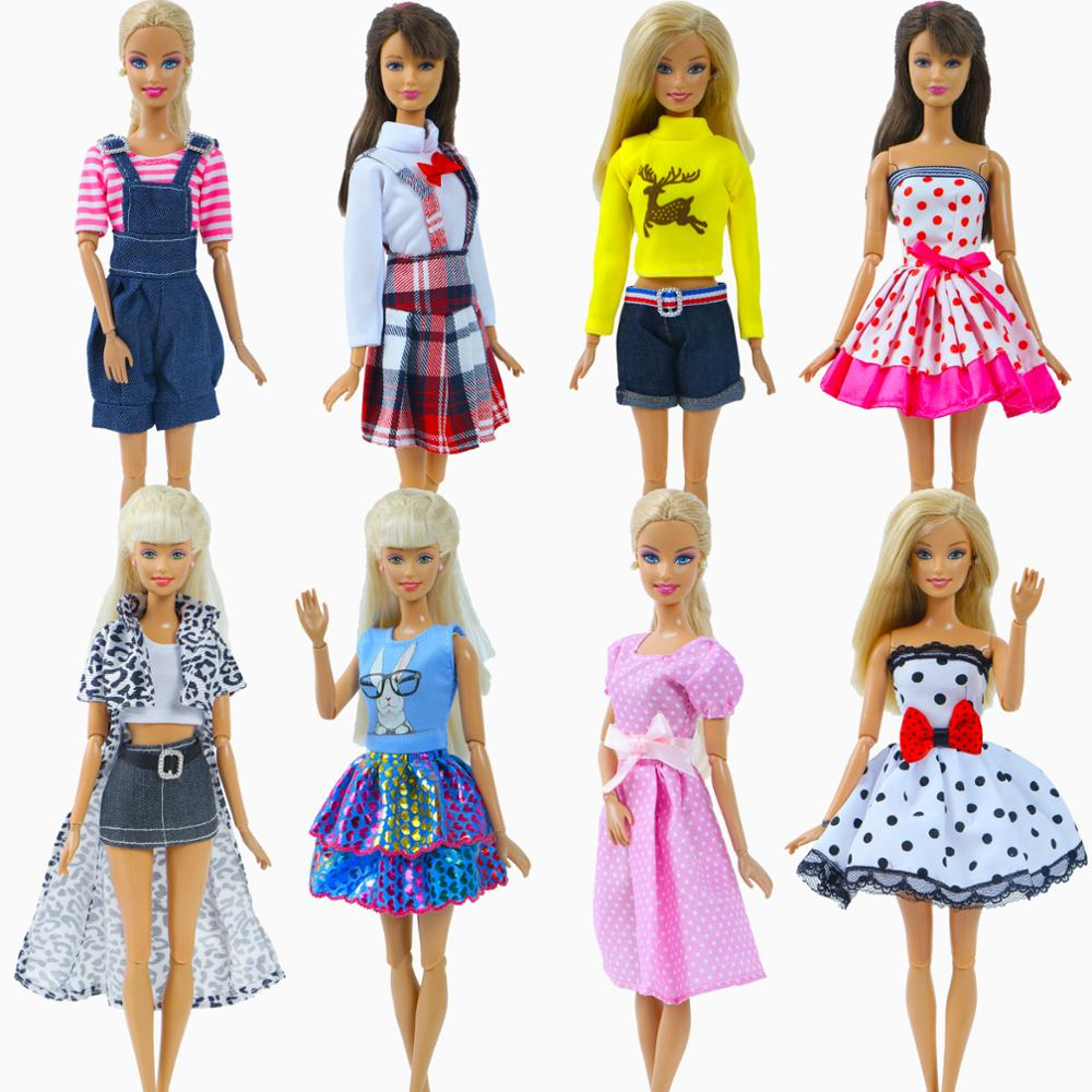 1 Set Fashion Handmade Dresses For Barbie Doll Clothes Daily Casual Party Wear Skirt Blouse Short Pants Accessories Kids Toy