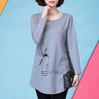 M - 5XL big size women's mother cotton long sleeve T-shirt China autumn clothes 2017 hot sale t shirt female gray tops long tees