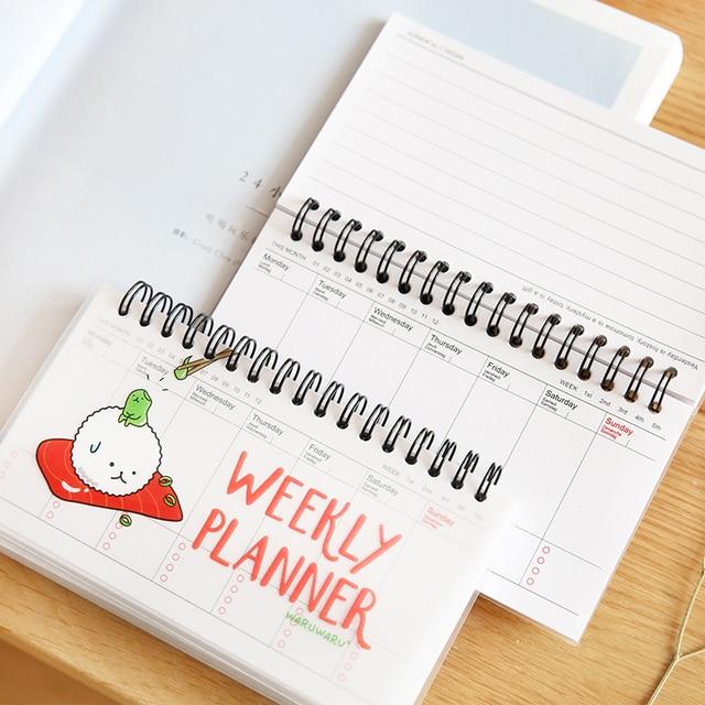 Суши недельный планировщик Мини тетрадь Повестки Дня за неделю план расписание Милые канцелярские принадлежности Школьные принадлежности 6501