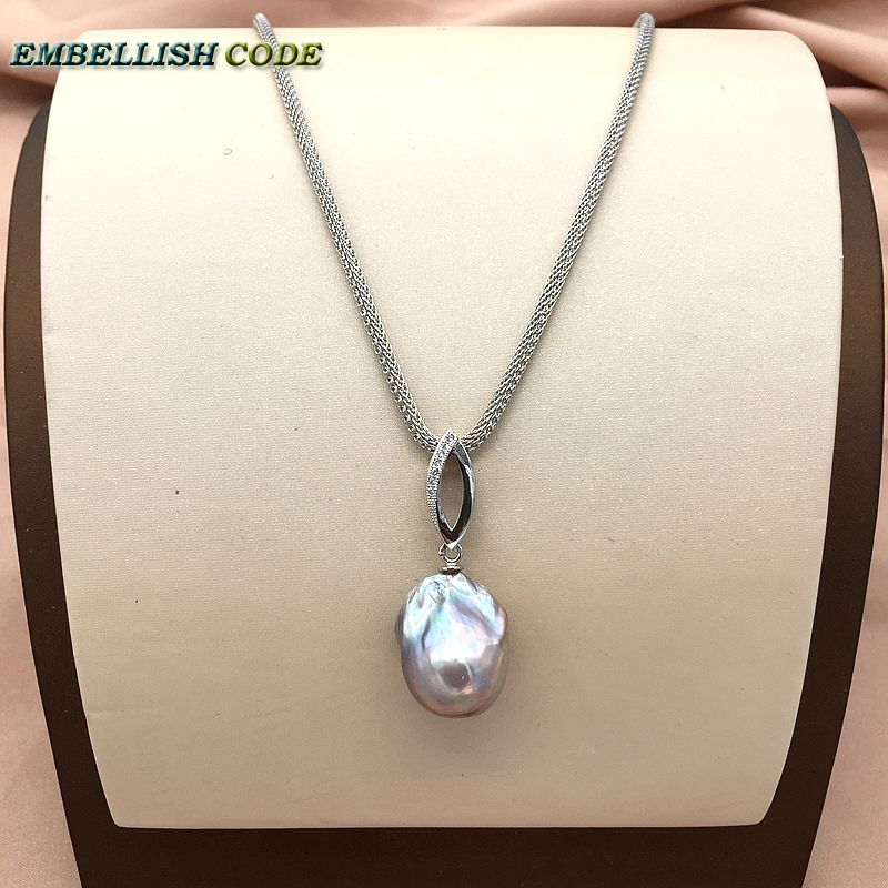 Grey Color Zircon Boat Long Shape 18'' To 20'' Baroque Pendant Necklace Fire Ball Pearls Durable Adjust Snake Chain 925 Silver