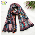 1PC 180*100CM 2016 Autumn New Design Acrylic Cotton Women Long Tassels Scarf  Woman New Fashion Flower Viscose Cotton Pashminas