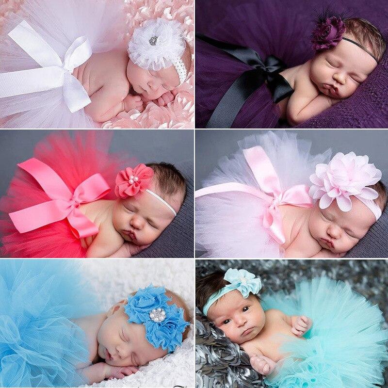 Bebé niña flor diadema conjunto de falda de tutú de princesa bebé recién nacido fotografía apoyos chicas atrezo fotografia bebe regalo de la Ducha del bebé