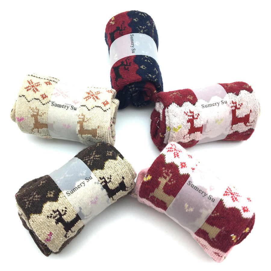 5 ペア/ロット冬暖かいウールクリスマスギフトブランドファッションデザインかわいいカシミヤ靴下女性甘いギフト新