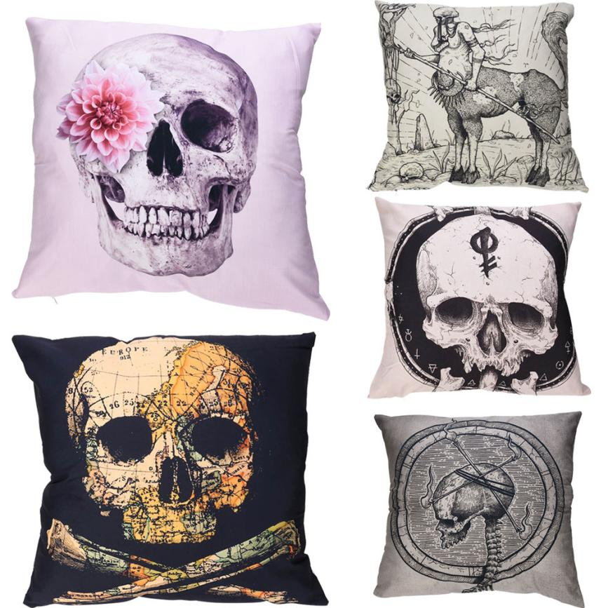 PolyesterThrow Pillow Case DIY Skull Cushion Cover Home Decor 45*45cm Square Sofa Home Cafe Cushion Covers Car Seat Gifts