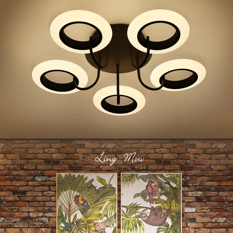 Post Modern Living Room Led Ceiling Chandelier Metal Acrylic Rings Led Chandelier Lighting For Bedroom Lustre Luminaria Lamparas цена