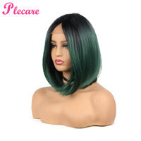 Plecare Hair Short Bob Straight Synthetic Wig Pruike Lace Front Wig Green High Temperature Heat Resistant Fiber Hair Women Wigs.