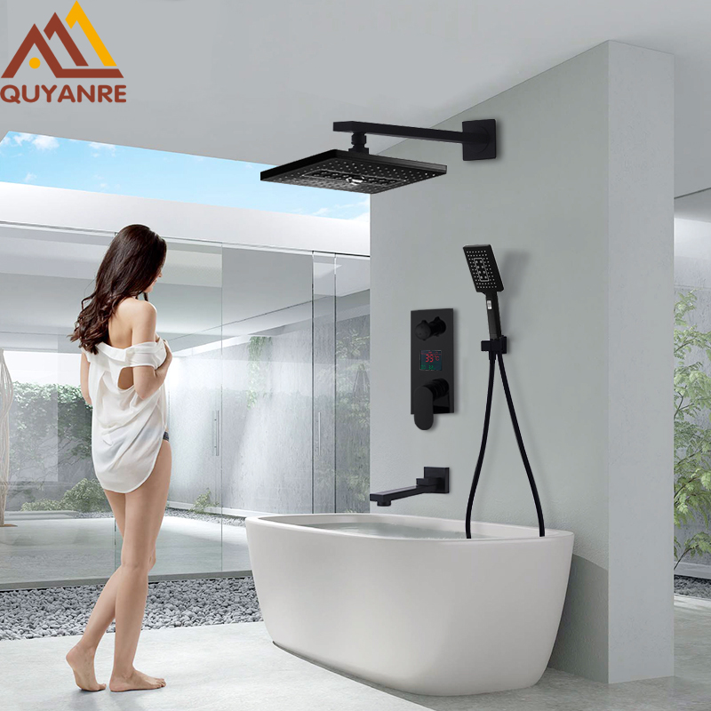 Quyanre 3-Way Black LED Digital Shower Faucets Set Rainfall Shower 3-way Digital Display Mixer Tap Swivel Tub Spout Bath Shower