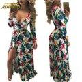 Adogirl Senhoras Impressão Vestidos Para As Mulheres Vestido De Festa De Outono Sexy Com Decote Em V Completo Manga Plus Size XL Maxi Elegante Longo vestidos