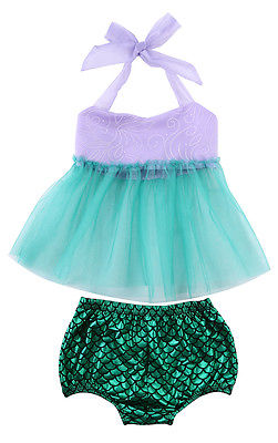 2 Pz Bambini Ragazza Tulle Tops + Bottoms Outfit Mermaid Swimsuit Swimwear Bathing Suit New Fashion