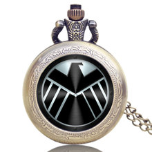 Captain America Movie Extension Shield Design Pendant Pocket Watch With Chain Necklace Free Shipping