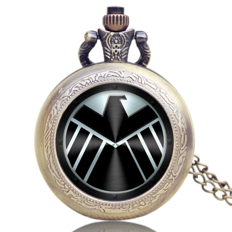 Captain America Movie Extension Shield Design Pendant Pocket Watch With Chain Necklace