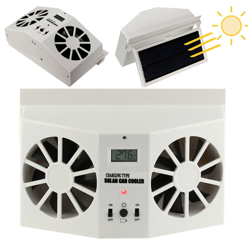 New Solar Power Car Auto Front/Rear Window Air Vent Cool Fan Cooler Ventilation System Radiator Can Use Battery Car Air Purifier
