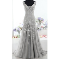V Neck Gray Tulle Evening Dress Long 2016 Sheer Sleeveless Mermaid Prom Dresses Formal Evening Party