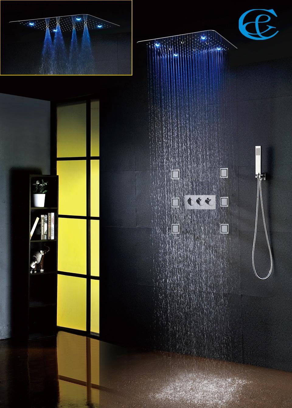 Ванная комната душа Установить аксессуары кран Панель коснитесь горячей и холодной водой Светодиодный потолочный Насадки для душа дождь в