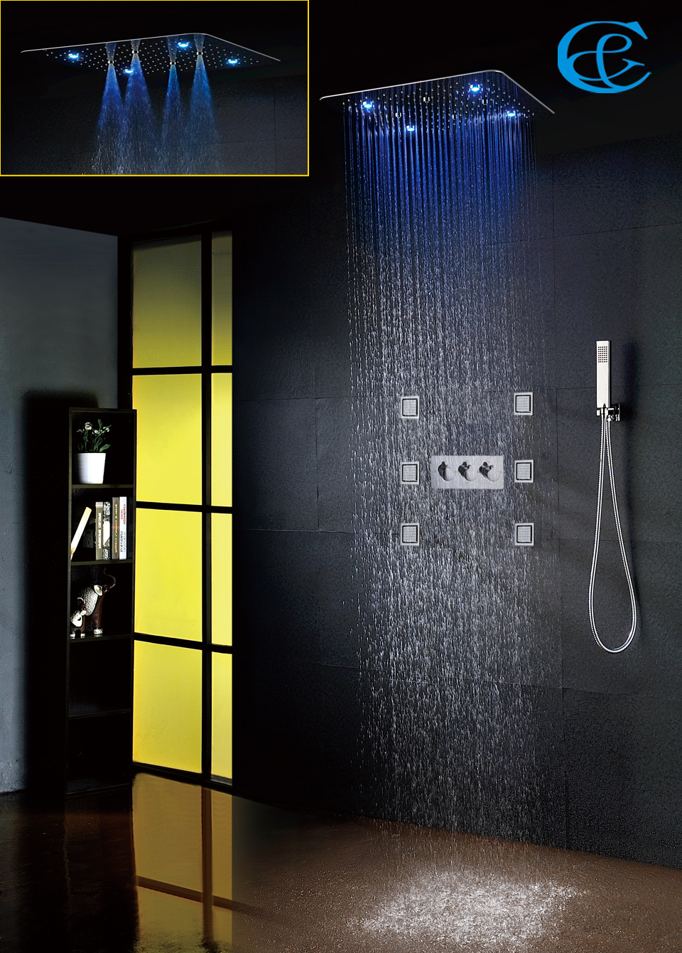 Bathroom Shower Faucet Set Accessories Faucet Panel Tap Hot And Cold Water Mixer LED Cei ...