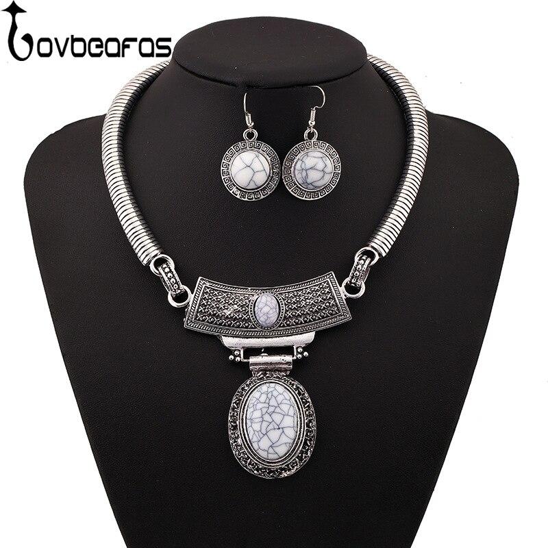 LOVBEAFAS 2018 Fashion Choker Maxi Necklace Earrings Jewelry Sets Collar Collier Vintage Statement Necklaces & Pendants Women