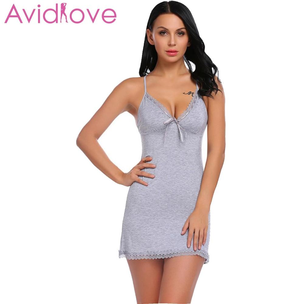 Avidlove Nightie Cotton Nightgowns Plus Size Sexy Home Wear Women s  Sleepwear V-Neck Sleeveless Nightwear ... 0c51258fc