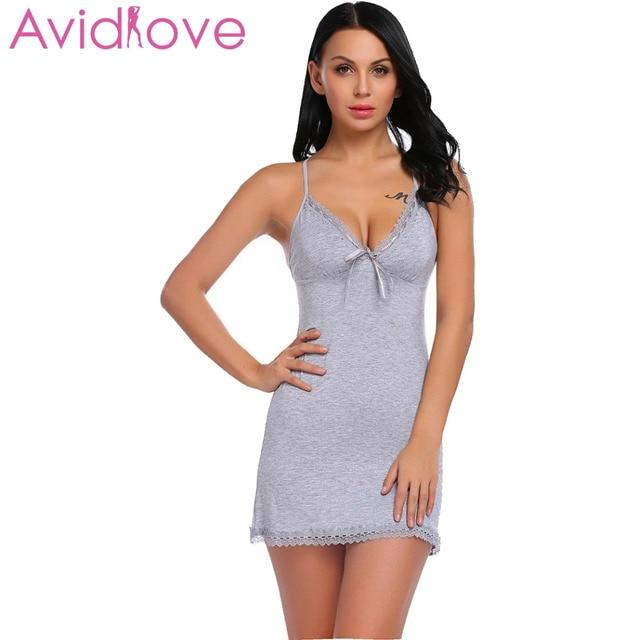 7a27e8e19 Avidlove Camisola Camisolas De Algodão Plus Size Sexy Sono Desgaste Casa  Pijamas das Mulheres Com Decote