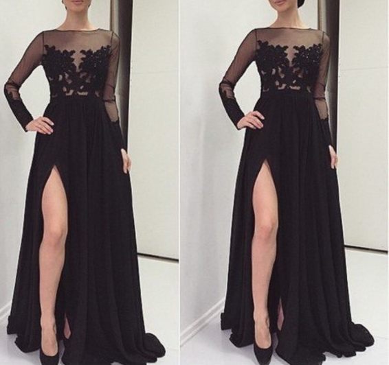 Black Long Sleeve Evening Dresses 2019 vestidos de fiesta de noche Side Split Sheer Formal Women