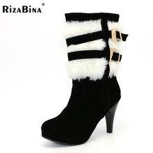 Rizabina Размер 30-48 женские высокий каблук низкие зимние Ботинки Martin для снежной погоды модная обувь Теплые Ботинки на каблуке P2550
