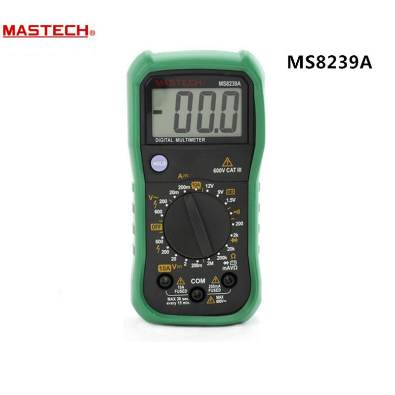 MASTECH MS8239A Digital Multimeter DMM AC/DC Voltmeter DC Ammeter Ohmmeter w/ Battery Current Resistance Tester  мультиметр multimeter 5818 ac dc w