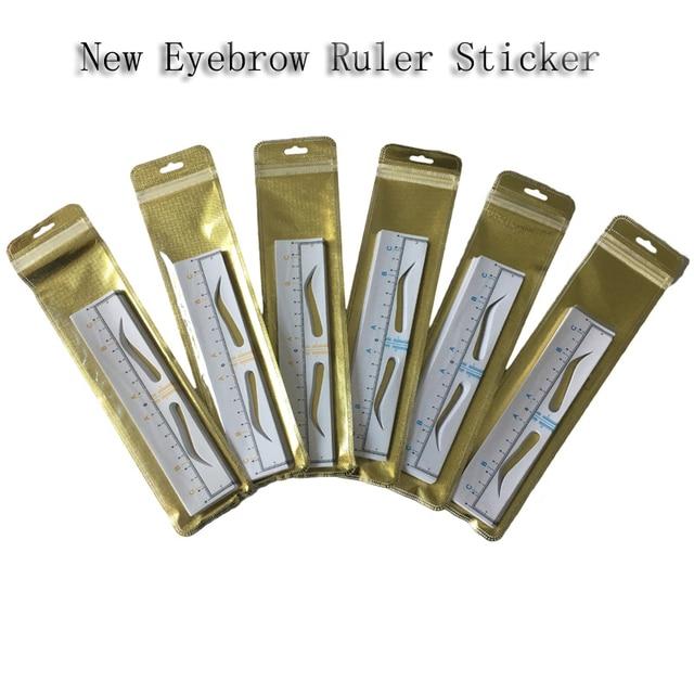 100pc Eyebrow Stencil Eyebrow Ruler Sticker Brow Measure Tool Microblading Calliper Stencil Eyebrow Line Makeup eyebrow Template 5