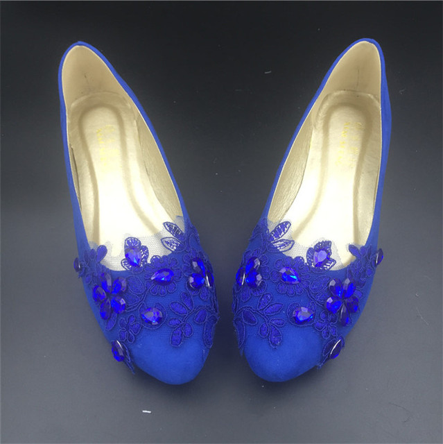 Extra Wide Blue Wedding Party Shoes Women Round Toe Ballet Flats Lace Crystals Bridal