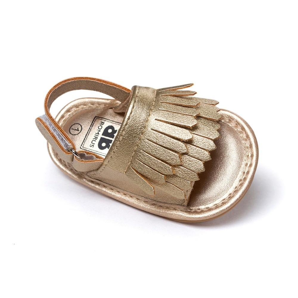 zomer gouden pasgeboren baby sandalen leer kwastje baby mocassins hete moccs sandalen voor baby meisjes jongens 0 ~ 18month.CX16C